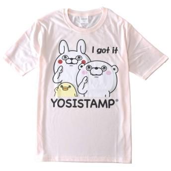 (アルージェ) ARUGE ヨッシースタンプ YOSISTAMP うさぎ くま ひよこ ねこさま 半袖 Tシャツ メンズ / C2G / L H柄83-08ピンク