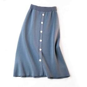 Sanxin スカート 女子は 秋冬カジュアルスタイルには ニットロングスカート (Cブルー)