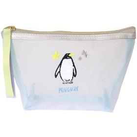[グリーンフラッシュ] ポーチ レディース メッシュ アニマル マチ付き 刺繍 ペンギン