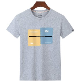 Kenoua 上着 夏服 トップス メンズ夏カジュアルファッションプリントパッチワークOネック半袖Tシャツトップス 白、グレー、黒 M,L,XL,2XL,3XL,4XL 半袖