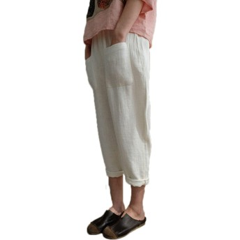 夏 女性 綿 大きいサイズ ロングパンツ カジュアル 弾性ウエスト ポケット付き ストライプ ハレムズボン バギーズボン (ホワイト, XL)