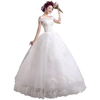 オフショルダー ウエディングドレス レースアップ Aライン 純白 花嫁衣装 (M) [並行輸入品]