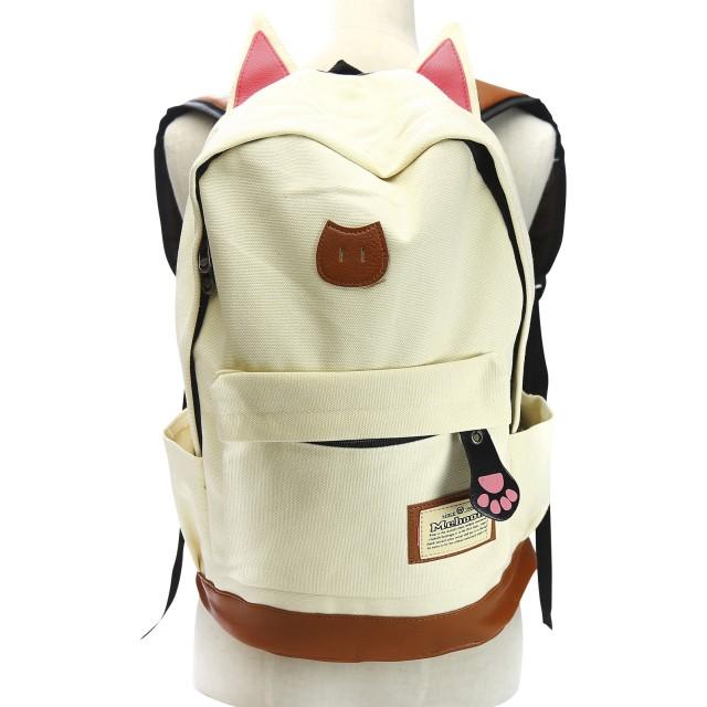 【ノーブランド品】 猫耳 猫の手 リュック バッグ キャンバス +ポーチ ネックレス(ホワイト)
