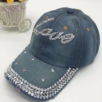 【SEBLES】レディース 帽子 キャップ キラキラ ラインストーン ダメージ加工 デニム 春 ブルーLoveC ワンサイズ