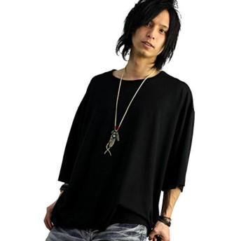 7分袖 ビッグtシャツ メンズ ブラック 黒 ビッグシルエット オーバーサイズ ドロップショルダー f822