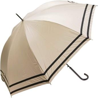 macocca(マコッカ) 遮光率100% 遮蔽率100% 超撥水 耐風骨 晴雨兼用傘 大きめ 60cm ジャンプ傘 makez. マケズ 2本ライン ベージュ