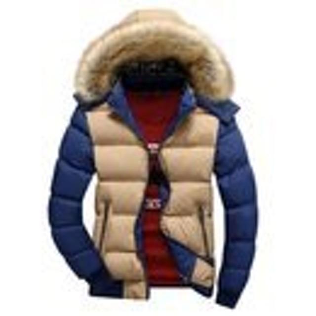 JinNiu メンズ ダウンコート フード付き 毛襟付き 中綿 コート 軽量 大きいサイズ アウトドア 防寒コート 軽量 ダウンジャケット 着やすい 柔らかい タートルネック ダウンジャケット 柔らかい 上品 高品質 防寒コート 冬の暖かいコート D XL
