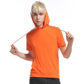 (ワトリズ)Whatlees メンズ 半袖 パーカー フード付 オレンジ スウェット TシャツB494-Orange-XXL
