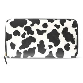 長財布 レディース 大容量 乳牛柄 ラウンドファスナー 革 レザー おしゃれ カード12枚収納 プレゼント対応