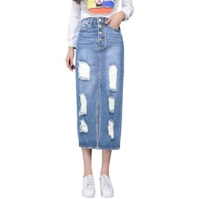 Fashion maker(F&M) デニムスカート レディース ボトムス スカート 膝丈 カジュアル ジーンズ ボタン ダメージ 無地 シンプル 可愛い 全2色 大きいサイズ (ブルー, M)