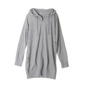 パーカー レディース 薄手 ロング丈 無地 ジップアップ uvカット 長袖 大きいサイズ Lサイズ 杢グレー(09)