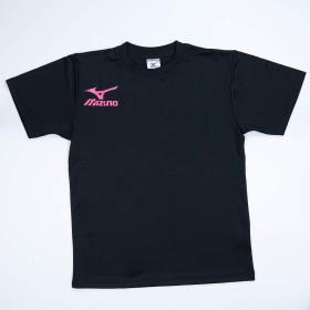 MIZUNO ミズノ Tシャツ スポーツウェア メンズ 半袖シャツ テニス オリジナルTシャツ 限定デザイン 右胸 & 背中ロゴ入り L 本体09ブラック×ピンク
