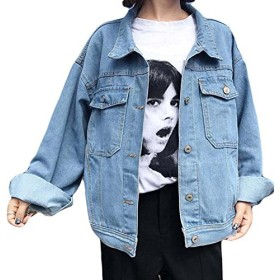 BeiBang(バイバン)ショート レディース デニムジャケット ゆったり 着痩せ ジージャン ライトブルー 大きいサイズ 春服 アウター ストリート系 ファッション(12)