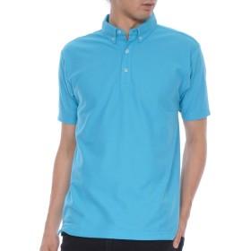 ティーシャツドットエスティー ポロシャツ 半袖 無地 薄手 鹿の子 ボタンダウン 4.9oz メンズ ターコイズ LL