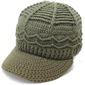 ノーブランド品 つば付きニットキャップ ニット帽 ハンドメイド カーキ