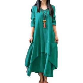maweisong Women Linen O-Neck 3/4 Sleeve Loose Big Swing Beach Maxi Dresses Green S