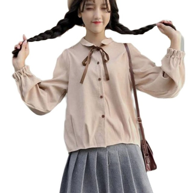 ZhongJue(ジュージェン)レディース シャツ 長袖 かわいい ブラウス リボン かわいい インナー インナーシャツ ピンク白 ピンク 春 トップス(FREESIZEアプリコット)