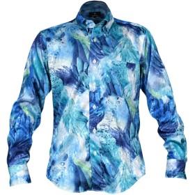 サテンシャツ ドレスシャツ ドゥエボットーニ 羽根 スナップダウン ジャガード 長袖 日本製 メンズ ブルー青グリーン緑 181708 LL
