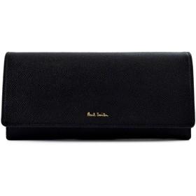 ポールスミス Paul Smith カラーフラッシュレザー かぶせ 長財布 本革 フラップ ロング ウォレット パース 財布 (ブラック)
