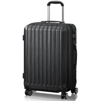 FIELDOOR TSAロック搭載スーツケース [STRAIGHT NEO] 【Mサイズ/ブラック】 ダブルキャスター 鏡面ヘアライン仕上げ トラベルキャリーケース リブ構造 ポリカーボ樹脂 軽量 耐衝撃 容量拡張機能 ダブルファスナー