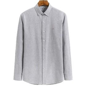 ODFMCE シャツ メンズ 長袖 綿100% ストライプ ワイシャツ 春秋 カジュアル 大きいサイズ (グレー, XXXL)