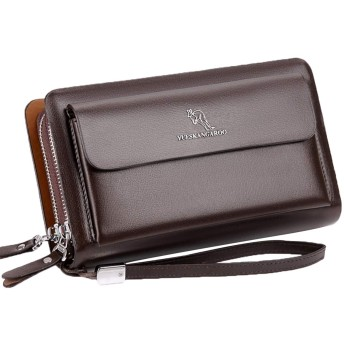 ハナ(HANA) 本革 セカンドバッグ クラッチバッグ クラッチ 式 セカンド バッグ メンズ 革 大容量 ダブルファスナー メンズポーチ 7-12枚カード収納