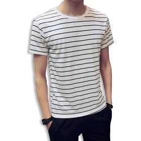 KMAZN Tシャツ ボーダー 半袖 メンズ ボーダーTシャツ 男女兼用 春 夏 (ホワイト 2XL)