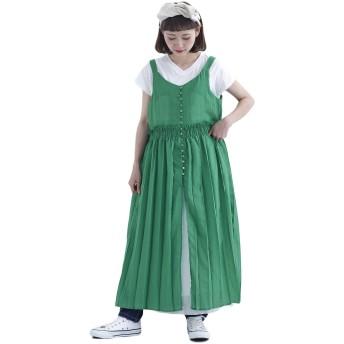 (メルロー) merlot プリーツキャミソールマキシワンピース7604 878213537604 FREE グリーン