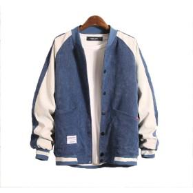 [TAOHUA]秋向き メンズ コート ジャケット 三つ色 長袖 ステッチング コールテン ゆったり カジュアルウエア ハンサム シンプルな様式   ブルー3XL