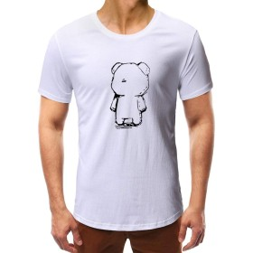 メンズ 半袖 Meilaifushi 面白い くま模様 丸襟 夏服 クマ人形 チェストプリント かっこいい 着心地良い 上着 吸汗速乾 無地 お出かけ カジュアル 男性 トップス 簡単 創意 シンプル 男の子 普段着 インナーシャツ