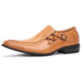 【ZINC/ジンク】 5863 日本製ビジネスシューズ 紳士靴 ロングノーズ (25.0cm, ライトブラウン)