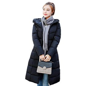 Proslen ダウンコート レディースダウン ダウンジャケット アウター コート 防風 防寒 コートロング フード付く ブラック XL