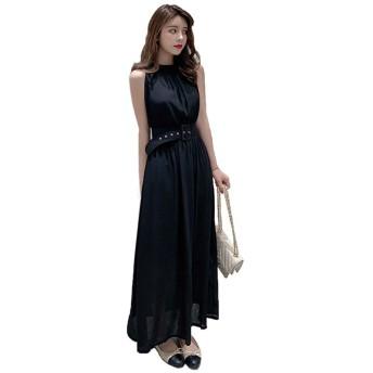 マキシワンピース 夏 CBCPOWER シフォン レディース 服装 リゾート ロング パーティ ドレス ノースリーブ (ブラック)
