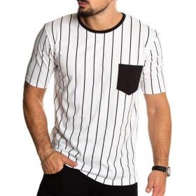 メンズ Tシャツ Meilaifushi ストライプ模様 おしゃれ 春夏秋 半袖 若者 気質 シンプル 夏服 カジュアル ゆったり トップス 通勤 旅行 大きいサイズ アウトドア tシャツ 人胸ポケット付き 上着