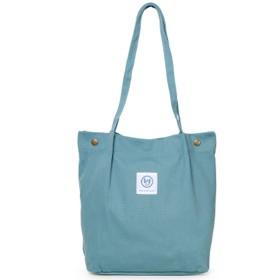 Cocoria レディース トートバッグ 鞄 無地 キャンバス きれいめ おしゃれ バック 通勤 通学 A4 たてトート 縦型トートバッグ 帆布 青