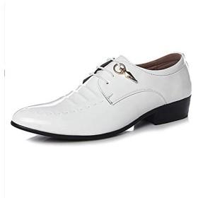 [PIRN] ビジネスシューズ ポインテッドトゥ メンズ ブラック 外羽根 通気性 吸湿吸汗性抜群 長い時間に履いても 靴の形を変わらない 足とぴったりフィット ばいきんの繁殖を抑えられる 足が痛くない 滑り止め オシャレ 革靴 ホワイト 25.0cm