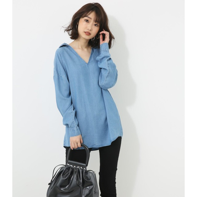 [アズールバイマウジー] シャツ スキッパーデニムSH レディース ブルー S