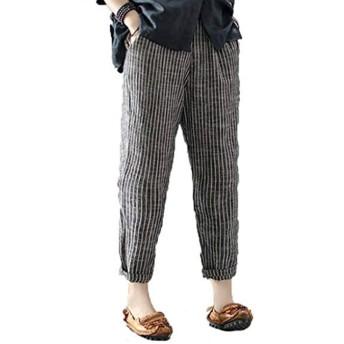 夏 女性 綿 大きいサイズ ロングパンツ カジュアル 弾性ウエスト ポケット付き ストライプ ハレムズボン バギーズボン (ブラック-2, XXXL)