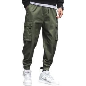 Jearey ジョガーパンツ メンズ カーゴパンツ 薄手 スウェットパンツ ズボン サルエルパンツ ストリート ゆったり 大きいサイズ ウェストゴム調節 カジュアル 春夏秋 ブラック アーミーグリーン M-4XL