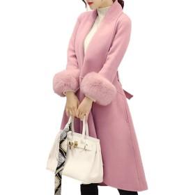 [美しいです] レディース コート スエード 折り襟 防寒 防風 ロング丈 カジュアル 保温性 軽量 ゆったり 冬服  ムートンコート (S, ピンク)