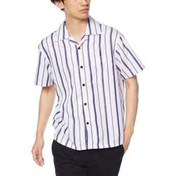 corisco(コリスコ) メンズ ブロード 半袖 ストライプ オープンシャツ 530237 L ホワイト