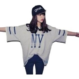 kazan NY HIPHOP 半袖 レディース BIG Tシャツ (08 グレー L)
