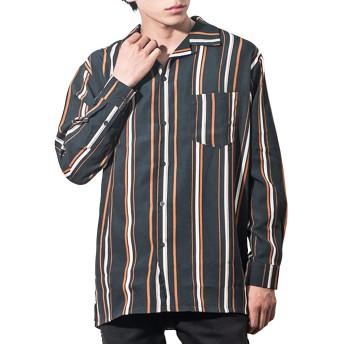 マイノリティ(minority)オープンカラーシャツ マルチストライプ メンズ 開襟シャツ 柄シャツ シンプル L グリーン