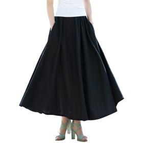 LISUEYNE レディース 亜麻 スカート マキシスカート ロングスカート 薄手 春 夏 全9色 ふんわり 広幅 可愛い 透けない 綿麻 着丈80cm 90cm
