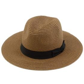 ブラウン×ブラック F (ディーループ)D-LOOP 紫外線 対策 ペーパーブレード 中折れ リボン 付き つば広 ハット 女優帽 レディース つば広め 無地 日除け 日よけ UV カット つばひろ 中折ハット マリン つば広ハット 麦わら 帽子 ぼうし つば広帽子 122329-010-459