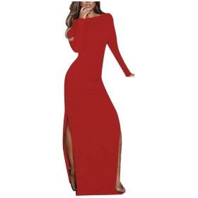 AngelSpace 女性ロングスリーブエレガントカクテルスプリットフルレングスドレス Red L
