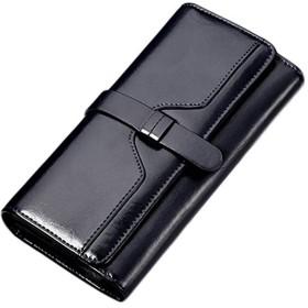 財布 レディース 長財布 三つ折り 小銭入れ付き 大容量 レザー 牛革財布 ブラック
