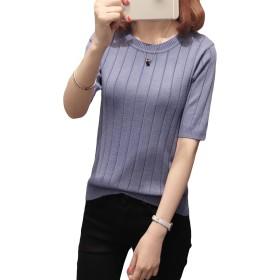 MengFan レディース カットソー パーカー 半袖 薄手 夏服 tシャツ ニット 五分袖 無地 丸首 エレガント トップス ゆったり 着やせ 通勤 フォーマル カジュアル 韓国風 ブルーc
