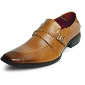 [ネロ コルサロ] ビジネスシューズ 本革 日本製 メンズ ベルト ダブルストラップ モンクストラップ ロングノーズ スワールモカ 革靴 靴 紳士靴 キャメル 26.5cm