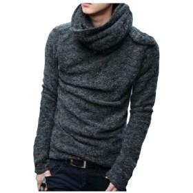 (プレシャスセレクト)Precious select 秋冬 メンズ ニット セーター ハイネック タートルネック 高襟 おしゃれ シンプル 長袖 あったか もこもこ 暖かい 男子 カジュアル ネックセーター 防寒 選べる2色 M L XL XXLサイズ (L, グレー)